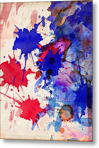 Blue And Red Color Splash Metal Print