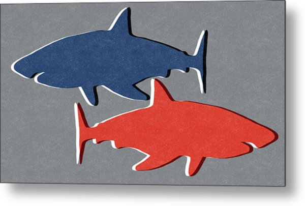 Blue And Red Sharks Metal Print