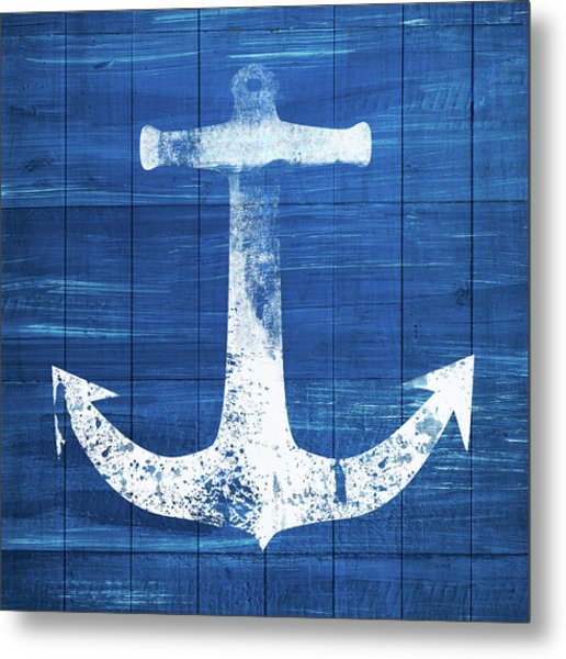 Blue And White Anchor- Art By Linda Woods Metal Print