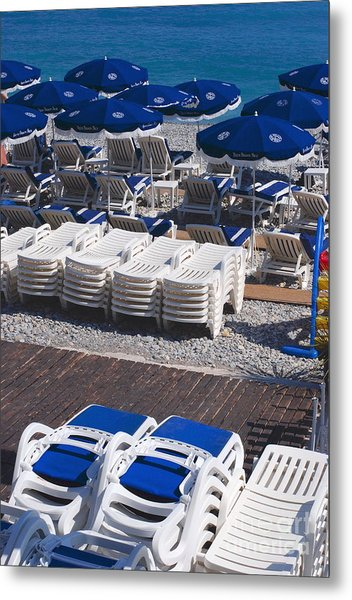 Blue And White Metal Print by Andrea Simon