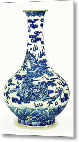 Blue And White Chinese Chinoiserie Dragon Vase Pottery Series,  No 1 By Adam Asar Metal Print