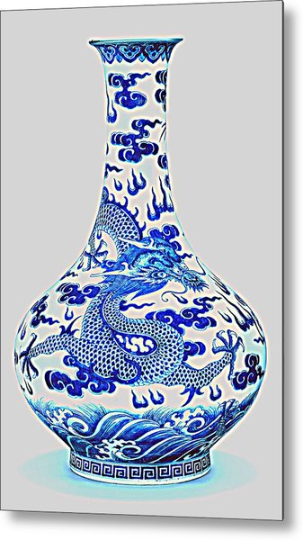 Blue And White Chinese Chinoiserie Dragon Vase Pottery Series,  No 2 By Adam Asar Metal Print
