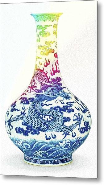 Blue And White Chinese Chinoiserie Dragon Vase Pottery Series,  No 3 By Adam Asar Metal Print