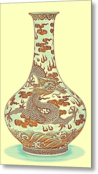 Blue And White Chinese Chinoiserie Dragon Vase Pottery Series,  No 4 By Adam Asar Metal Print