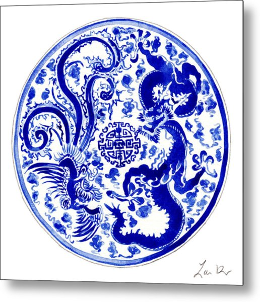 Blue And White Chinese Chinoiserie Plate 3 Metal Print