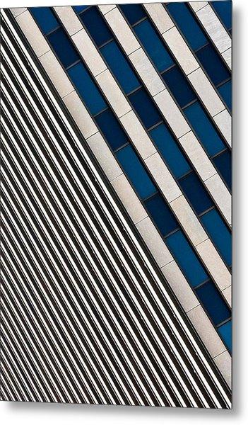 Blue And White Diagonals Metal Print