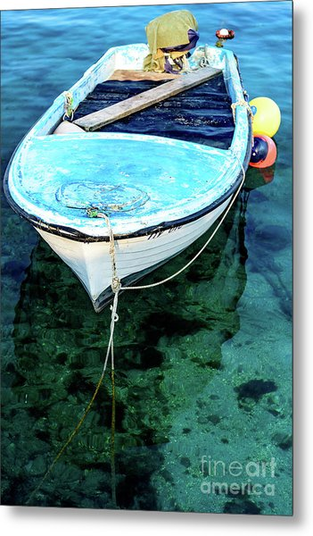 Blue And White Fishing Boat On The Adriatic - Rovinj, Croatia Metal Print