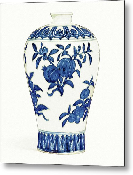 Blue And White 'fruit' Meiping Art Metal Print