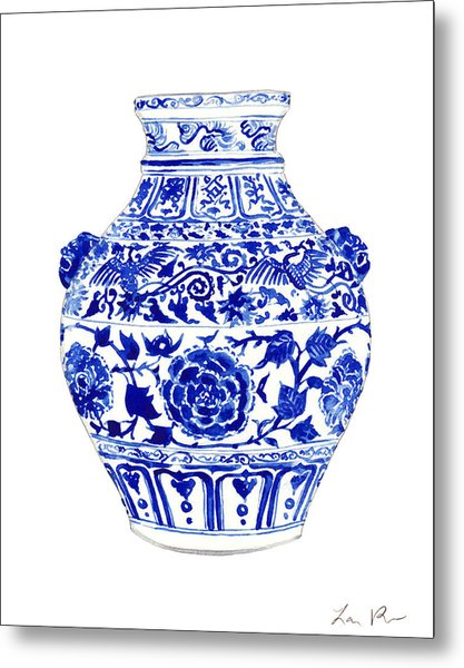 Blue And White Ginger Jar Chinoiserie 4 Metal Print