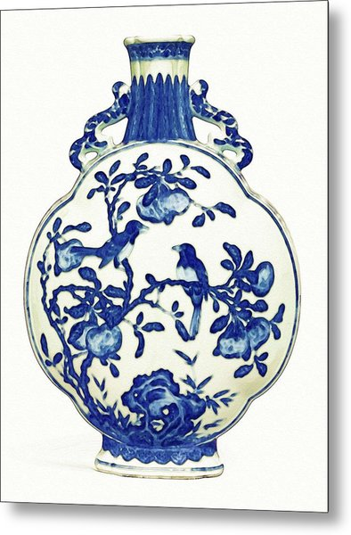 Blue And White Lobed 'magpie' Moonflask Art Metal Print