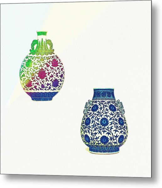 Blue And White 'lotus Scroll' Moonflask And Vase - Watercolor 2 Metal Print
