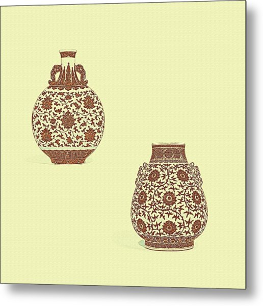 Blue And White 'lotus Scroll' Moonflask And Vase - Watercolor Poster Metal Print