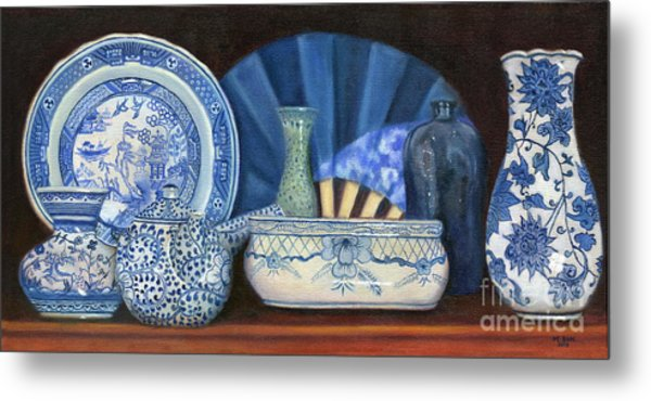 Blue And White Porcelain Ware Metal Print