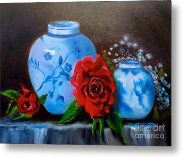 Blue And White Pottery And Red Roses Metal Print