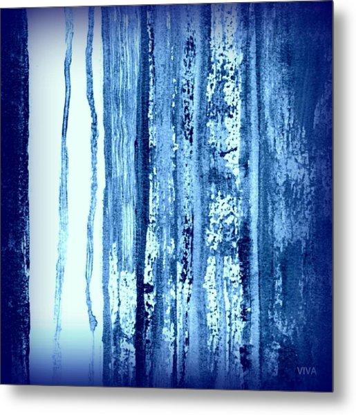Blue And White Rainy Day Metal Print