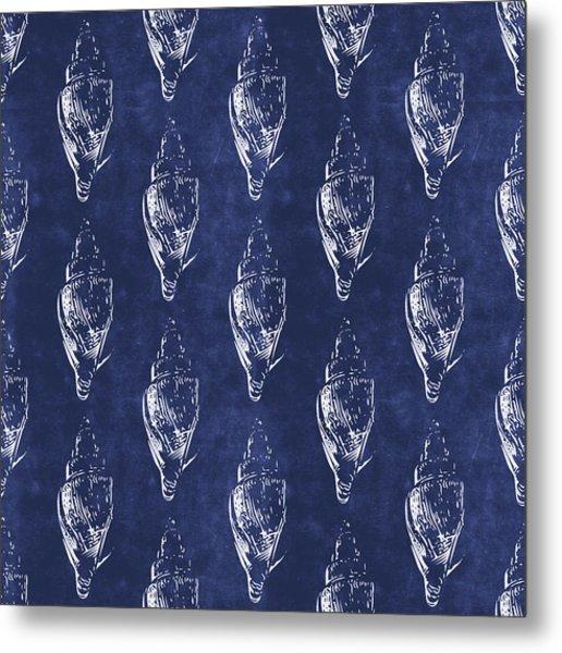 Blue And White Seashells 2- Art By Linda Woods Metal Print