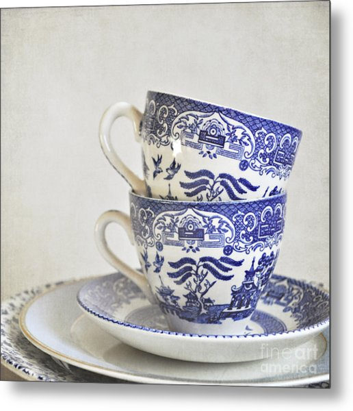 Blue And White Stacked China. Metal Print