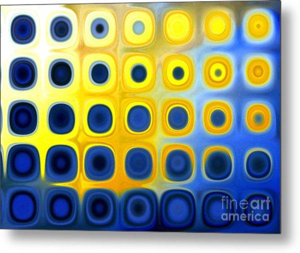 Blue And Yellow Circles  B Metal Print