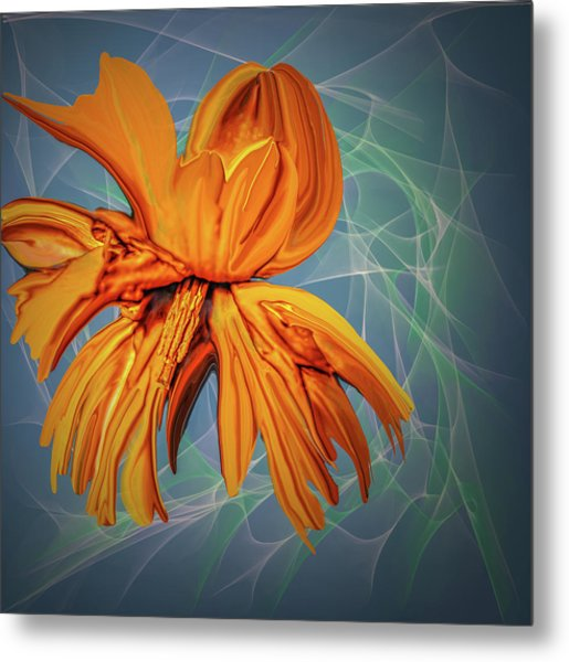 Metal Print featuring the digital art Blue And Yellow #h6 by Leif Sohlman