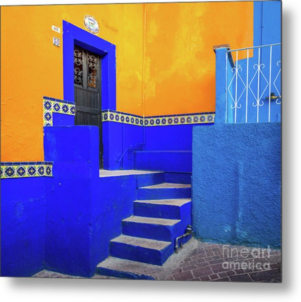 Blue And Yellow House Metal Print