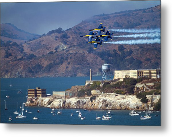 Blue Angels Over Alcatraz Metal Print