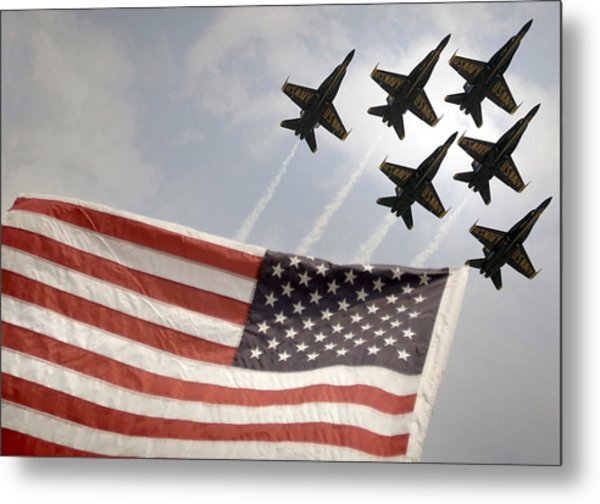 Metal Print featuring the photograph Blue Angels Soars Over Old Glory As They Perform The Delta Formation by Celestial Images