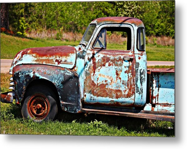 Blue Antique Chevy Truck- Fine Art Metal Print