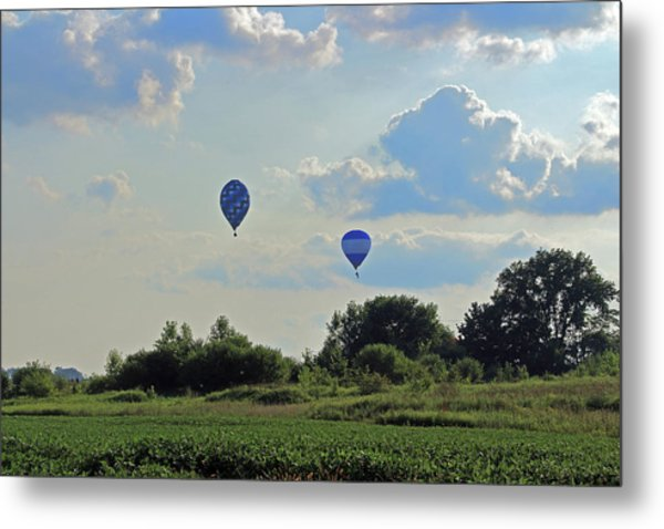 Metal Print featuring the photograph Blue Balloons Over A Field by Angela Murdock