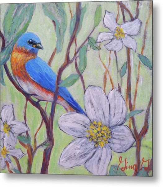 Blue Bird And Blossoms Metal Print