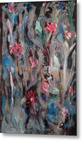 Blue Bird In Flower Garden Metal Print