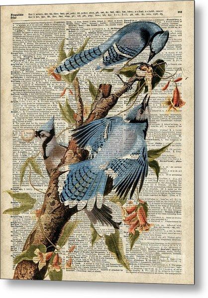 Blue Birds Vintage Illustration Dictionary Art Metal Print