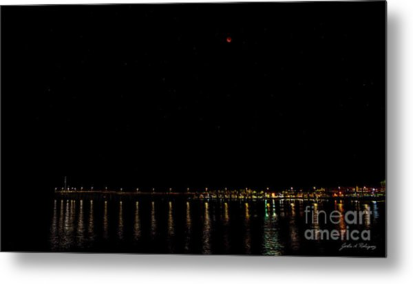 Blue Blood Moon 2018 Ventura, California Pier Metal Print
