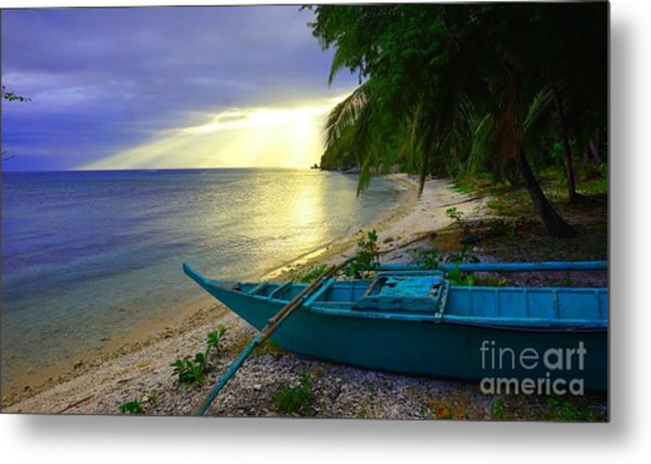 Blue Boat And Sunset On Beach Metal Print
