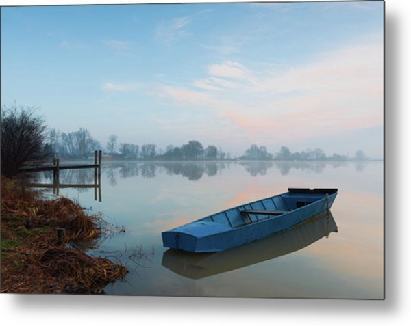 Metal Print featuring the photograph Blue Boat by Davor Zerjav