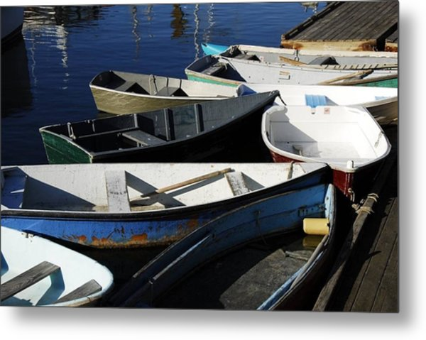 Metal Print featuring the photograph Blue Boats Of Rockport by AnnaJanessa PhotoArt
