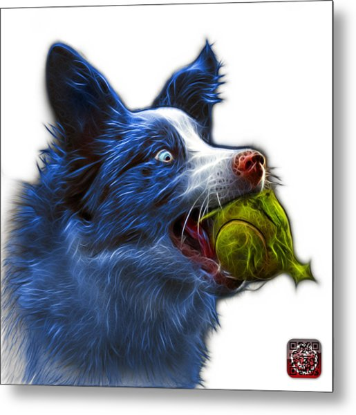 Metal Print featuring the painting Blue Border Collie - Elska -  9847 - Wb by James Ahn