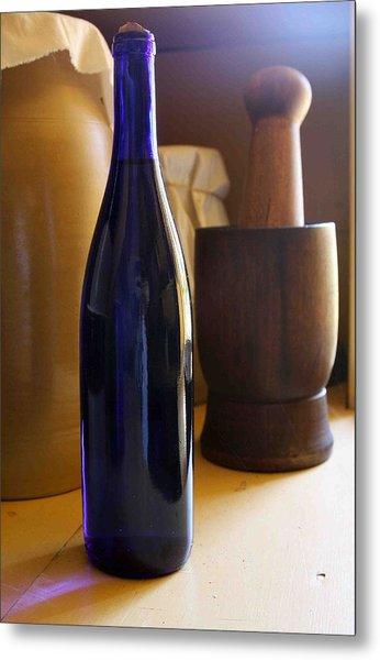 Blue Bottle And Mortar Metal Print