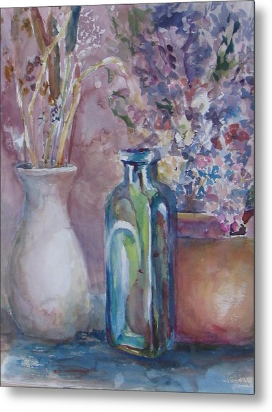 Blue Bottle Metal Print by Dorothy Herron