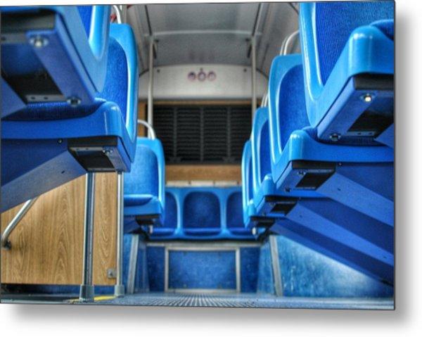 Blue Bus Seats Metal Print