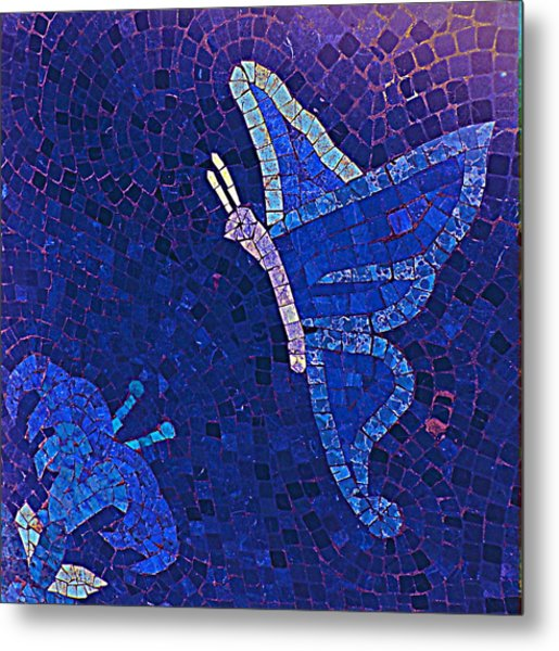 Blue Butterfly And Flower Metal Print