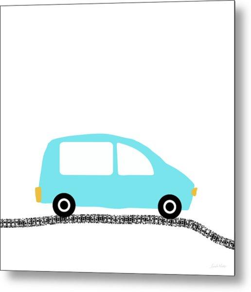 Blue Car On Road- Art By Linda Woods Metal Print