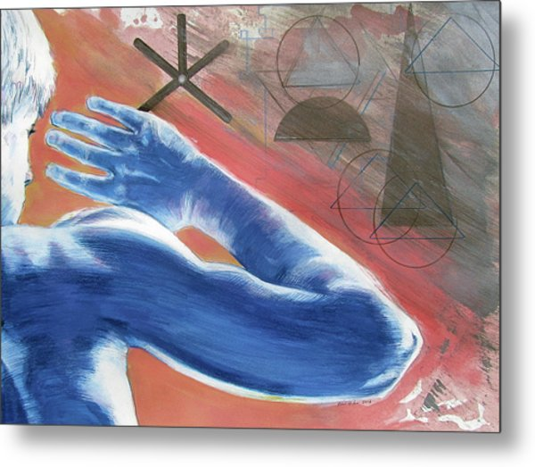Metal Print featuring the painting Blue Celestial  by Rene Capone