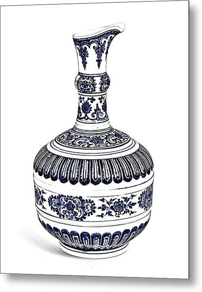 Blue Chinese Chinoiserie Pottery Vase 4a By Adam Asar Metal Print