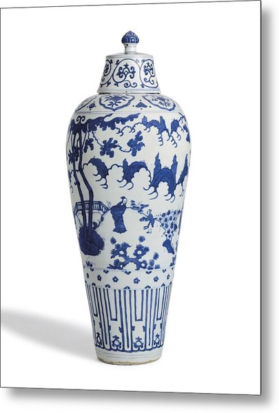 Blue Chinese Chinoiserie Pottery Vase 5 Metal Print