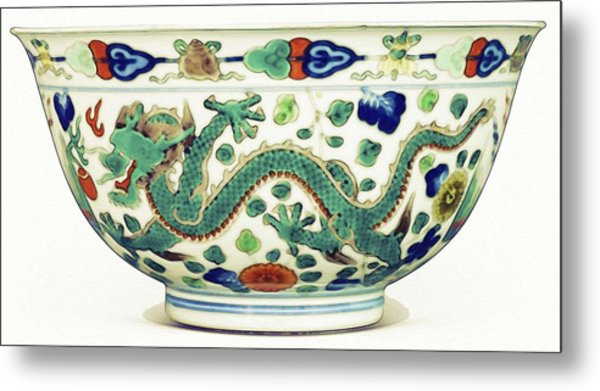 Blue Chinese Chinoiserie Pottery Watercolor Series,  No 1 By Adam Asar Metal Print