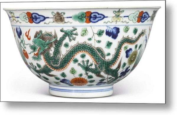 Blue Chinese Chinoiserie Pottery Watercolor Series,  No 1v By Adam Asar Metal Print