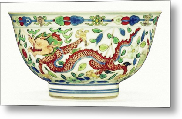 Blue Chinese Chinoiserie Pottery Watercolor Series,  No 2 By Adam Asar Metal Print