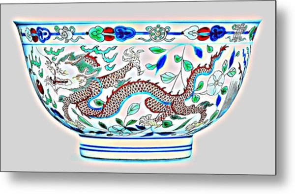 Blue Chinese Chinoiserie Pottery Watercolor Series,  No 2a By Adam Asar Metal Print
