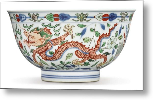 Blue Chinese Chinoiserie Pottery Watercolor Series,  No 2v By Adam Asar Metal Print