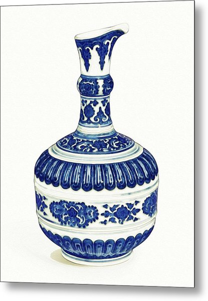 Blue Chinese Chinoiserie Pottery Watercolor Series,  No 4 By Adam Asar Metal Print